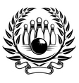bowling symbol in laurel wreath in retro style vector image