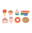 bundle various sweet desserts and baked vector image