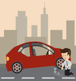 Businessman with a car vector image vector image