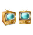 cartoon retro vintage tv set with antenna vector image vector image
