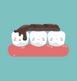 chocolate bar on top of teeth tooth and teeth of vector image vector image