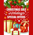 christmas gift sale poster for winter holidays vector image vector image