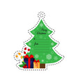 christmas tree with gifts gift tag vector image vector image