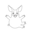 cute pink piggy with hug gesture isolated on white vector image