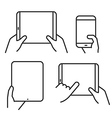 different variations holding a modern gadget vector image vector image