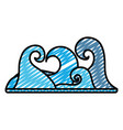 doodle nature waves tropical ocean style vector image vector image