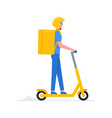 electric scooter courier vector image vector image