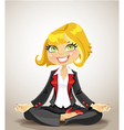Elegant business woman meditating for success vector image vector image