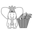 elephant with feathers hat and basket flowers vector image vector image