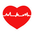 flat trendy heart beat icon with ecg vector image