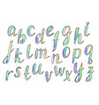 hand drawn comic rainbow font vector image vector image