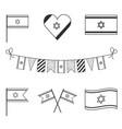 israel flag icon set in black outline design vector image