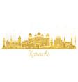 karachi pakistan city skyline golden silhouette vector image vector image