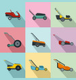 lawnmower grass garden icons set flat style vector image vector image