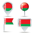 Map pins with flag of Belarus vector image vector image