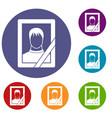 memory portrait icons set vector image vector image