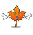 money eye red maple leaf mascot cartoon vector image vector image