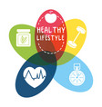 nice healthy lifestyle icons design vector image vector image