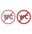 no wc line and glyph icon prohibited and closed vector image vector image