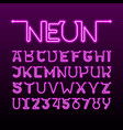 one thin single continuous line neon tube font vector image vector image