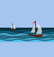 papercut 3d sea waves and sail boat modern paper