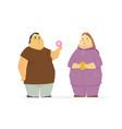 plump couple eating unhealthy food - cartoon vector image