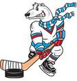 polar bear sports logo mascot hockey vector image vector image