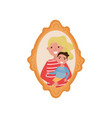 portrait of mother and son family photo in wooden vector image