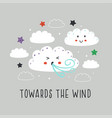 poster with cute cloudwind and star vector image vector image