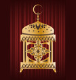 ramadan kareem golden latern with crescent vector image