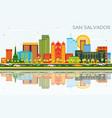 san salvador city skyline with color buildings vector image vector image