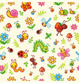 seamless pattern with insects and plants in vector image vector image