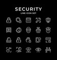 set line icons of security vector image