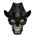 skull blues with glasses and hat vector image vector image