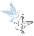 Soaring dove colored black vector image