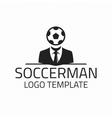 Soccerman logo template vector image