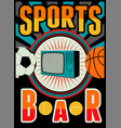 sports bar vintage style poster vector image vector image
