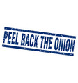 square grunge blue peel back the onion stamp vector image vector image