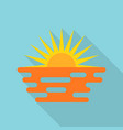 sun and sea icon flat style vector image
