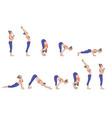 sun salutation surya namaskara a yoga sequence vector image
