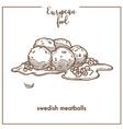 swedish meatballs sketch icon for european food vector image vector image
