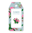 tag with peony bouquet pattern vector image vector image