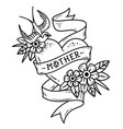 tattoo heart with swallow flowers and word mother vector image vector image
