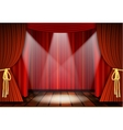 Theatrical scene with red curtains vector image vector image