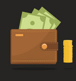 wallet full of money vector image