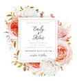 wedding invite card design blush fall rose flowers vector image vector image