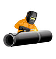 welder welds pipeline vector image