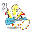 with guitar cute kite flying the on mascot vector image