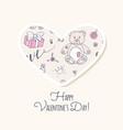 valentine day sticker love heart form vector image