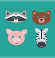 animals carnival mask set festival vector image